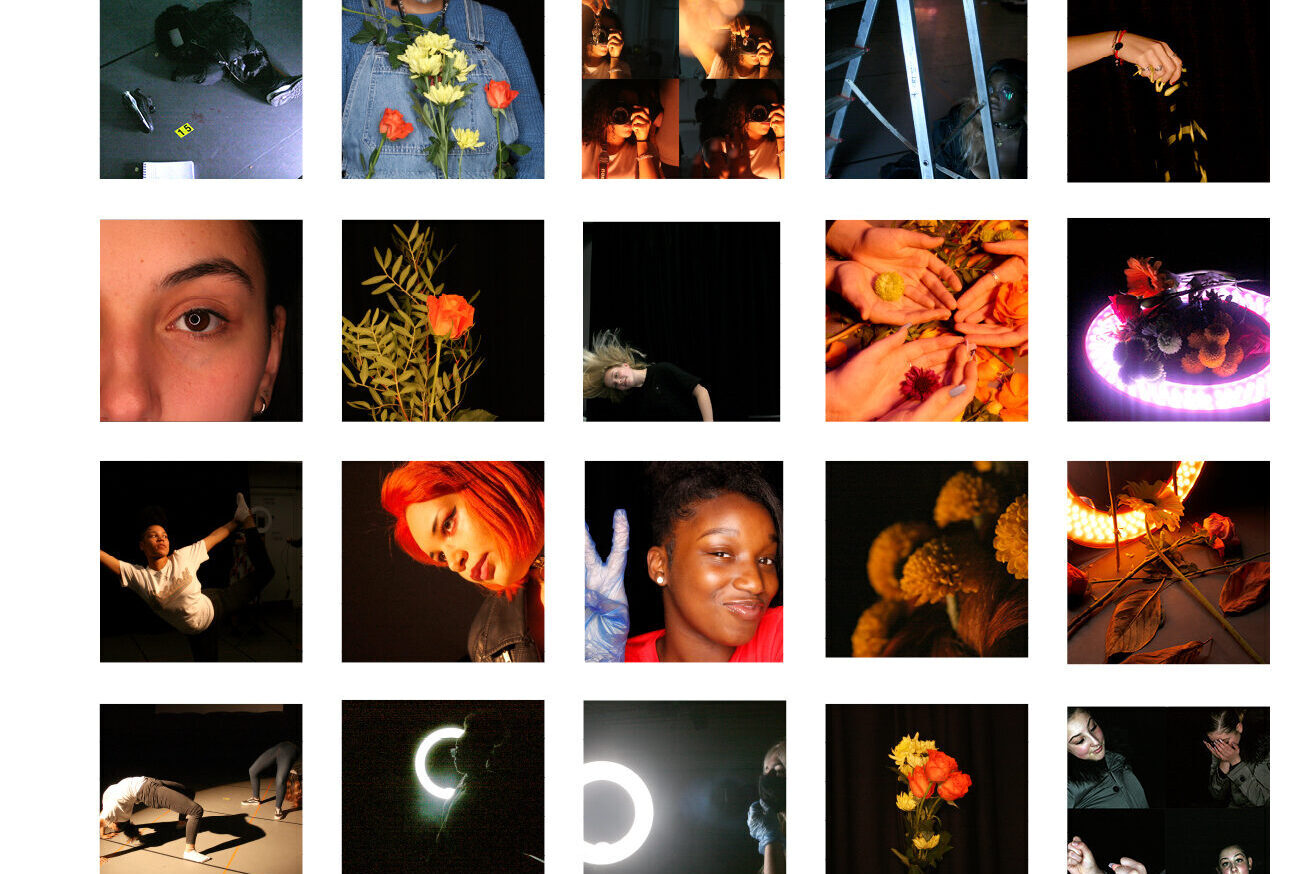 A series of artistic photographs presenting in a grid, featuring young women, flowers, dramatic lighting etc.