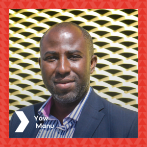 Photograph of Yaw Manu in front of the Brixton House gold ventilation wall