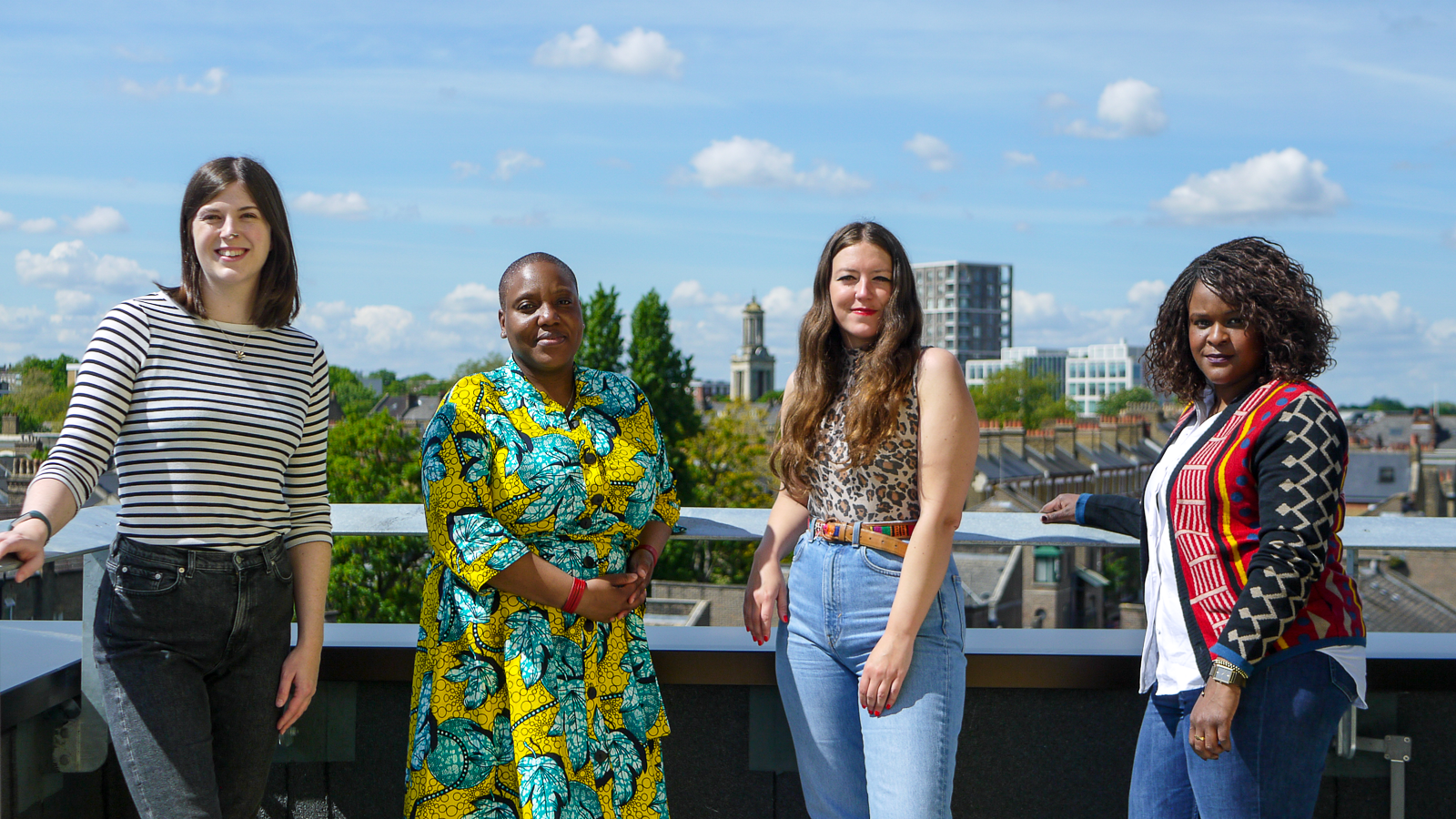Pictured L-R: Lani Strange, Oluwatoyin Odunsi, Ruth Hawkins, Nonny Nkomo. On the roof of Brixton House, may 2021.